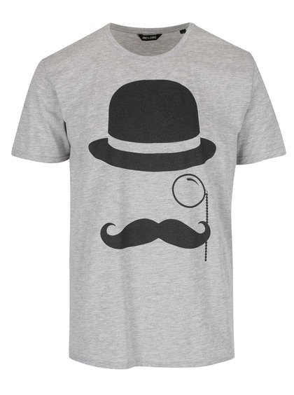 Šedé triko s potiskem ONLY & SONS Gentleman