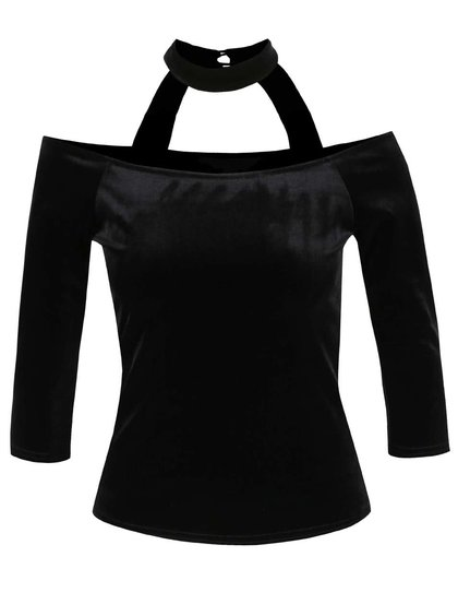 Čierny zamatový top s chokerom a odhalenými ramenami Miss Selfridge