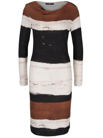 Hnědo-krémové pruhované úpletové šaty Pietro Filipi