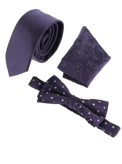 Fialový set kravaty, motýlku a kapesníčku Jack & Jones Jacnecktie