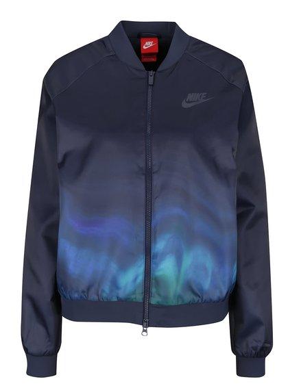 Jachetă bomber albastru închis Nike Sportwear cu imprimeu pentru femei