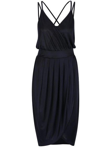 Tmavě modré šaty s překládanou sukní VERO MODA Mya