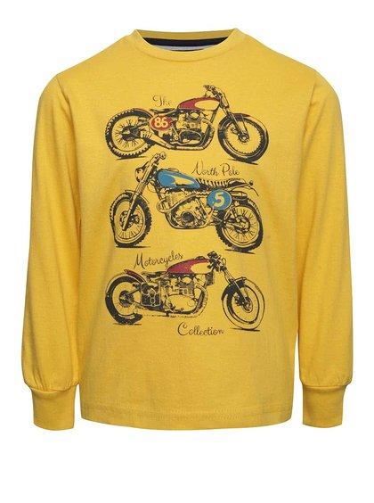 Žluté klučičí triko s potiskem motorek North Pole Kids