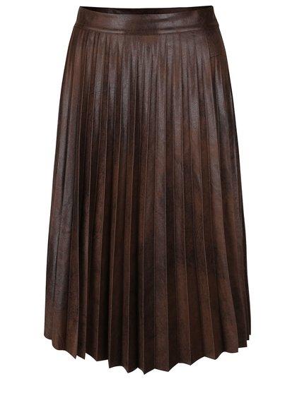 Hnědá lesklá plisovaná sukně Alchymi