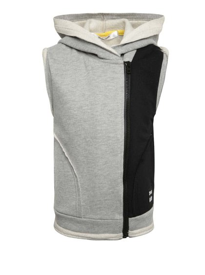 Sivo-čierna dievčenská vesta s asymetrickým zapínaním 3FnkyKids