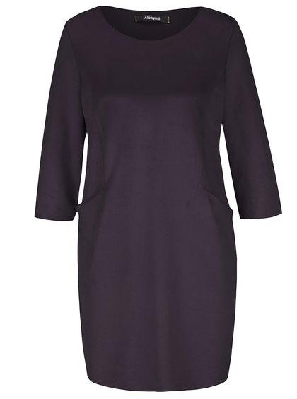 Rochie neagră Alchymi din catifea cu buzunare
