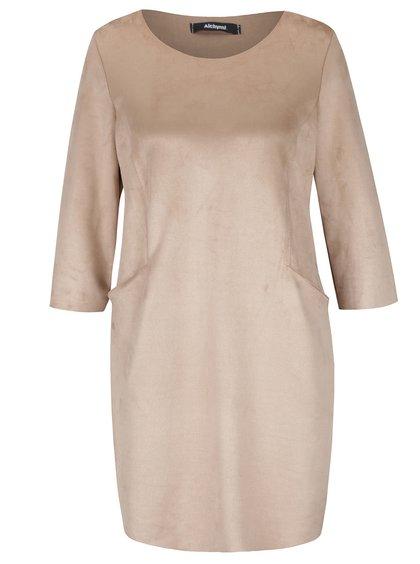 Béžové zamatové šaty s vreckami Alchymi