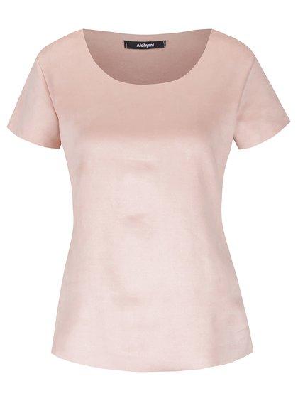 Tricou roz pudrat Alchymi cu aspect de catifea