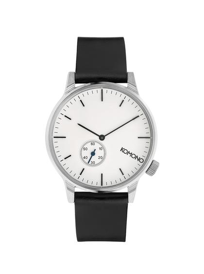 Unisex hodinky ve stříbrné barvě s koženým páskem Komono Winston Subs