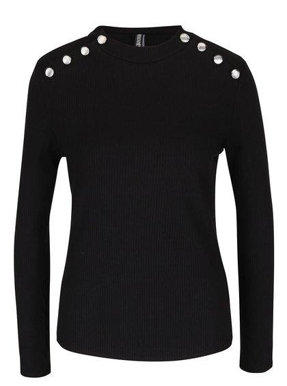 Černé žebrované tričko s ozdobnými knoflíky Haily´s Rina