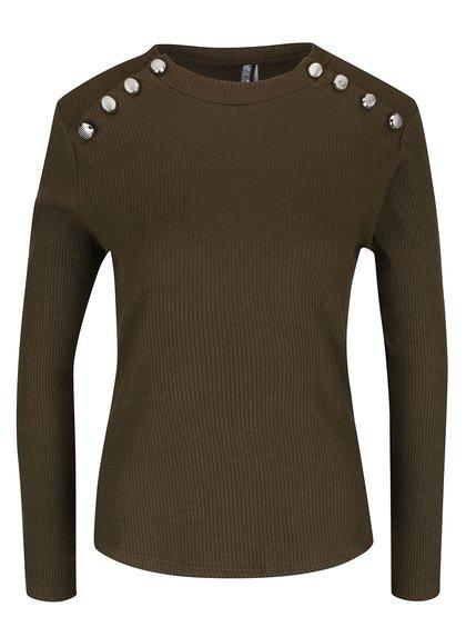 Kaki rebrované tričko s ozdobnými gombíkmi Haily´s Rina