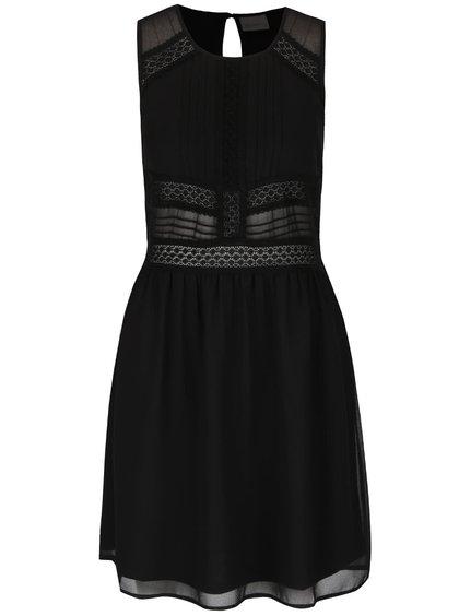 Černé šaty s krajkovými detaily VERO MODA Ladylike