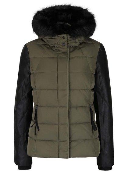 Khaki prošívaná bunda s umělým kožíškem TALLY WEiJL