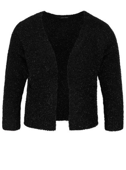 Černý krátký třpytivý cardigan s kapsami a 3/4 rukávy TALLY WEiJL