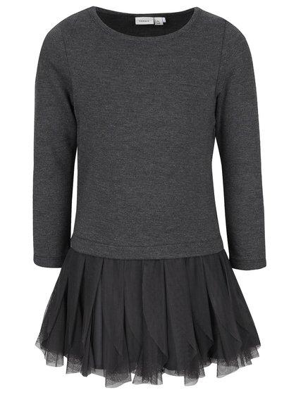 Tmavě šedé holčičí šaty s dlouhým rukávem name it Wemilla