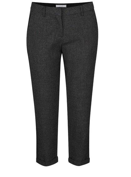 Tmavě šedé žíhané zkrácené  kalhoty VILA Rome