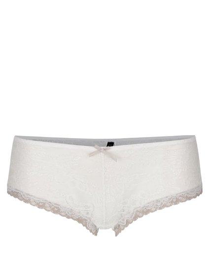 Krémové krajkové kalhotky s béžovými detaily ICÔNE Jane