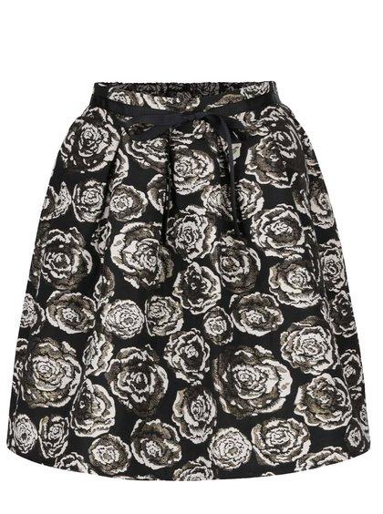 Černá sukně s květy ve zlaté barvě Vero Moda Daisy