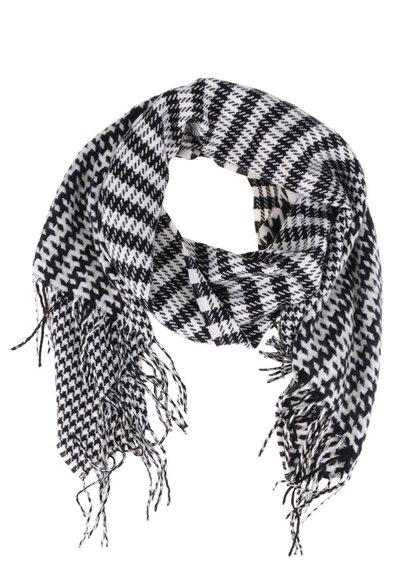 Čierno-biely šál so strapcami VILA Edel