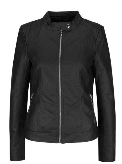 Jachetă neagră VILA Aya cu aspect de piele