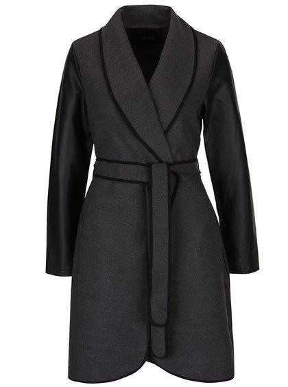 Tmavosivý kabát s opaskom a koženkovými detailmi VILA Ida