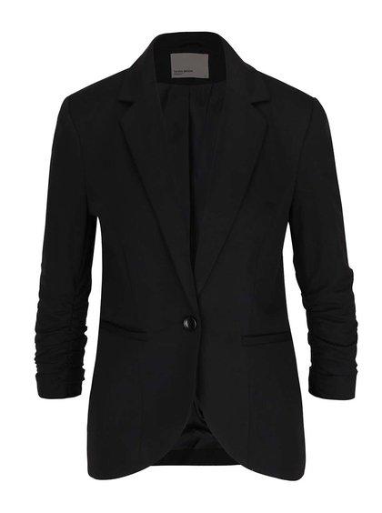 Čierne sako s nariasenými 3/4 rukávmi Vero Moda Jinkly
