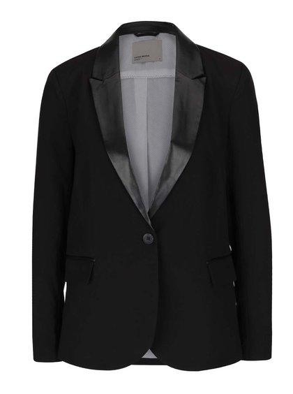 Černé sako s koženkovými detaily VERO MODA Scarlett