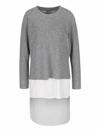 Šedý svetr s všitou dlouhou halenkou Vero Moda Isla