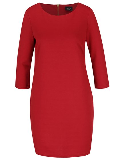 Červené šaty s 3/4 rukávem VILA Tinna