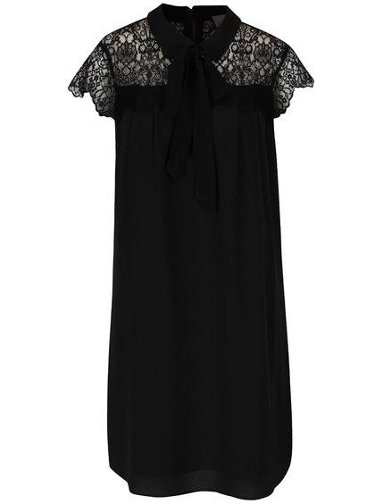 Čierne šaty s čipkovaným dekoltom a viazankou VERO MODA Marie
