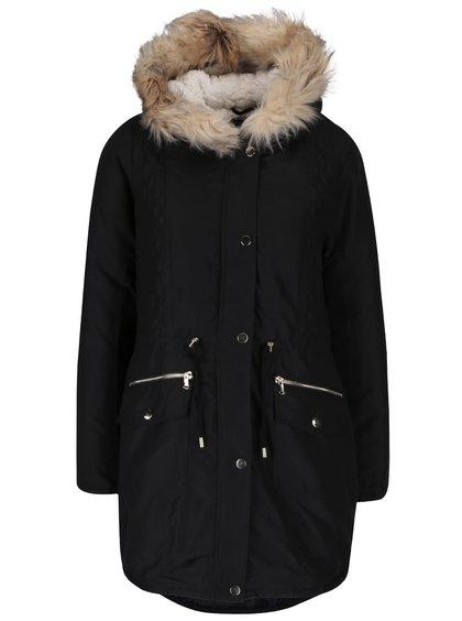 Čierna parka s kapucňou z umelej kožušiny Dorothy Perkins