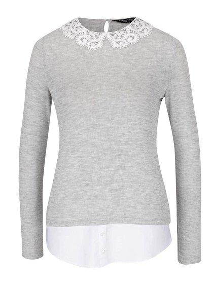 Světle šedé tričko s háčkovaným límcem Dorothy Perkins