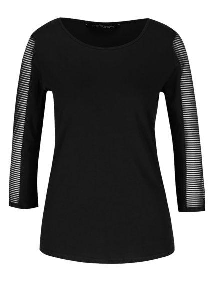 Čierne tričko s priehľadnými 3/4 rukávmi Dorothy Perkins