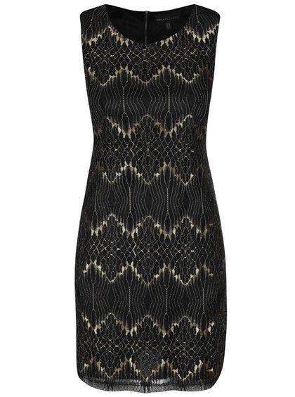 Čierne čipkované šaty so vzormi v zlatej farbe Mela London