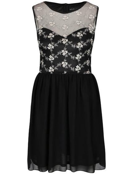 Rochie neagră cu broderie florală Mela London
