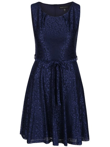 Tmavě modré lesklé vzorované šaty Mela London