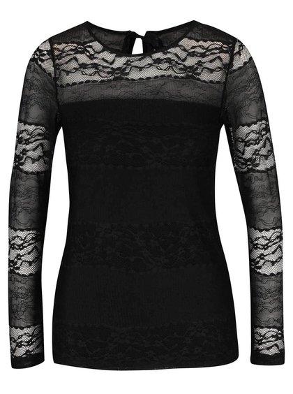 Černé krajkované tričko s dlouhými rukávy Dorothy Perkins