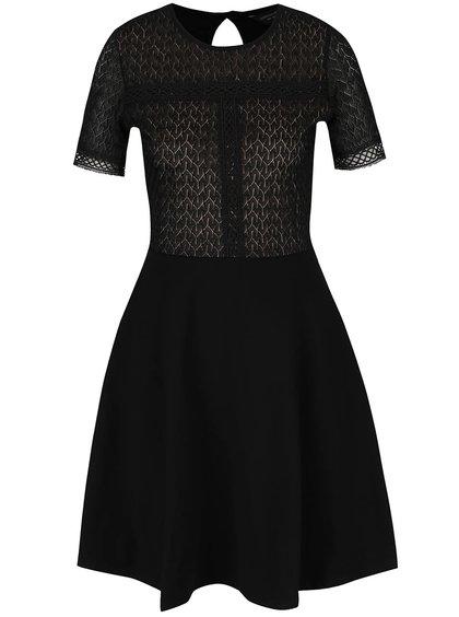 Černé šaty s krajkovým topem Dorothy Perkins