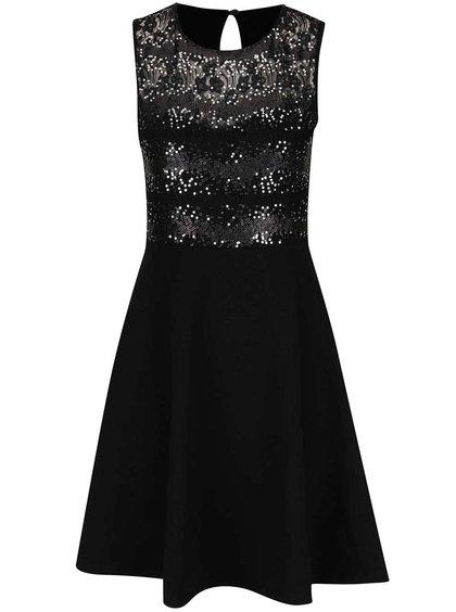 Černé šaty s flitrovaným topem bez rukávů Dorothy Perkins