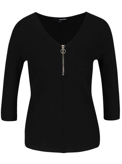 Černé tričko se zipem v dekoltu a 3/4 rukávem TALLY WEiJL