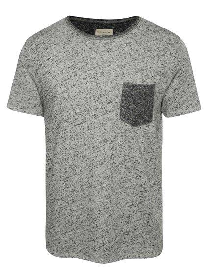 Sivé melírované tričko s vreckom Selected Homme Aldwin