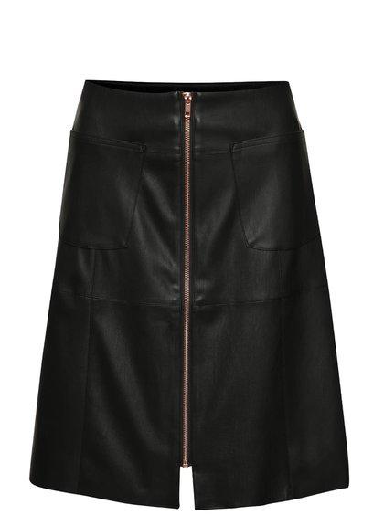 Černá koženková sukně se zipem Dorothy Perkins