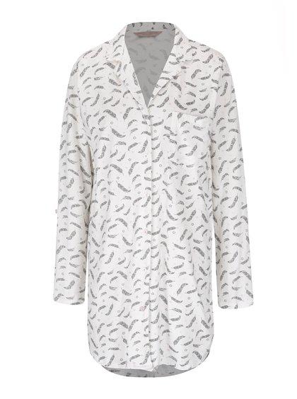 Krémová noční košile s potiskem peříček Dorothy Perkins Curve