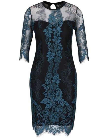 Černo-petrolejové krajkové šaty s 3/4 rukávy Dorothy Perkins