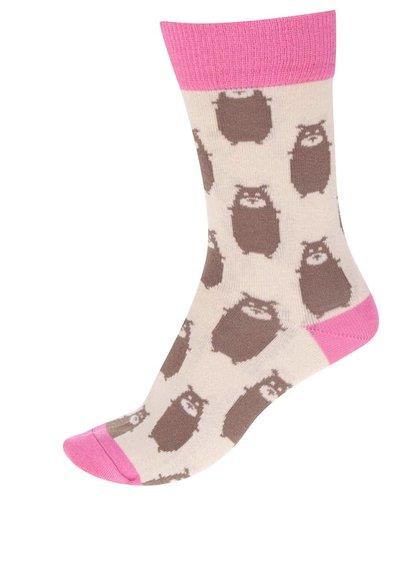 Růžovo-béžové ponožky s motivem medvěda ZOOT Originál