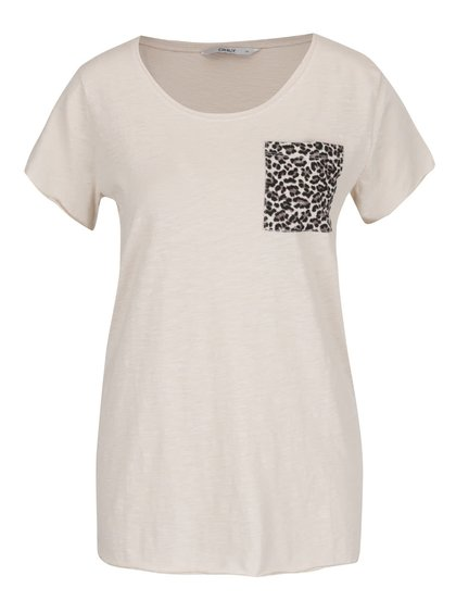 Béžové tričko s náprsní vzorovanou kapsou ONLY Easy