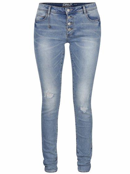 Světle modré skinny džíny s potrhaným efektem ONLY Carmen