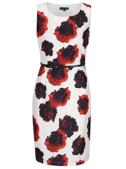 Krémové květované šaty s páskem Smashed Lemon