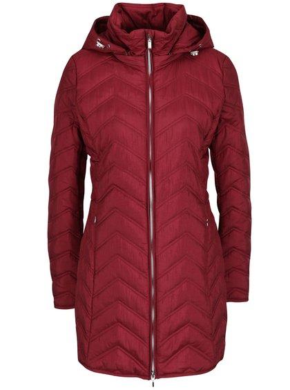 Vínový dámský funkční prošívaný kabát s kapucí Geox