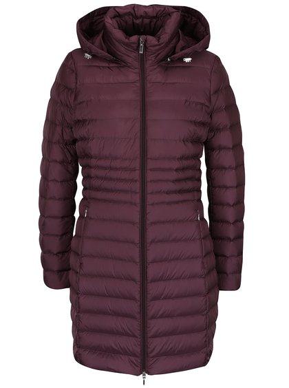 Vínový dámský péřový funkční prošívaný kabát s kapucí Geox